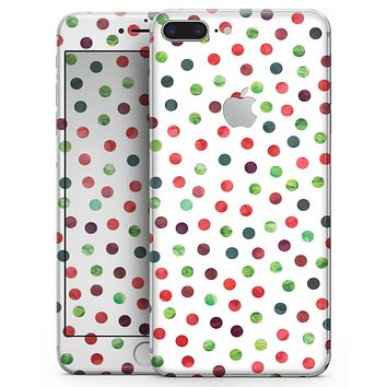 Red and Green Watercolor Dots over White - Skin-kit for the iPhone 8 or 8 Plus