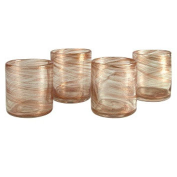 Glasses Old Fashioned Set Whiskey 4 Tumblers Rocks Holiday Copper Shimmer NEW