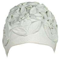 Luxury Divas White Floral Emboss Vintage Style Latex Swim Bathing Cap