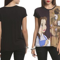 Licensed cool NEW Disney Beauty & The Beast Frightened Princess Belle Top Blouse T-Shirt JR XS
