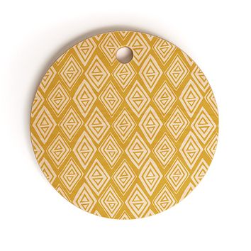 Heather Dutton Diamond In The Rough Gold Cutting Board Round
