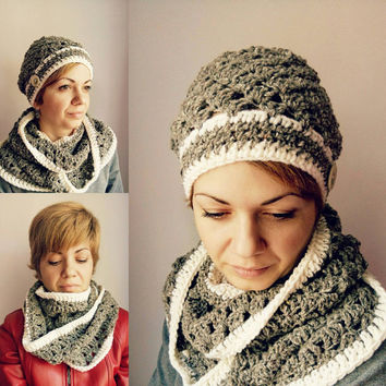 Women Hat and Scarf Set Grey Crochet Hat Womens Infinity Scarf Grey Hat Crochet Set Beanie Scarf Set Hat Crochet Button Hat Lace Tube Scarf