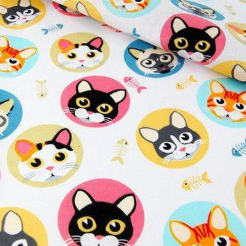 Cute colorful cat faces cotton car steering wheel cover