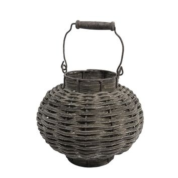 "11.5"" Beach Day Weathered Dark Gray Woven Wood Votive Candle Lantern"