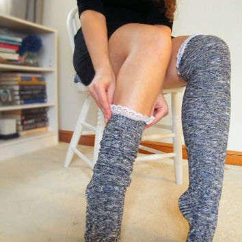 Over the Knee Socks Over the Knee lace Socks Lace Otk Socks Womens Boot Socks Black and White Tweed Tall Long Cable Boot Socks READY TO SHIP