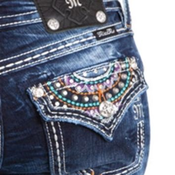 Miss Me Bootcut Jeans with Colorful Boho Pocket JW7002B5
