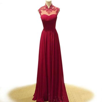 Cute sweetheart long red evening dress lace chiffon open back long formal dress high neck floor length formal evening gown