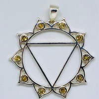 Chakra, Solar Plexus Chakra Pendant with Yellow Sapphires made in 925 Sterling Silver, Manipura Chakra