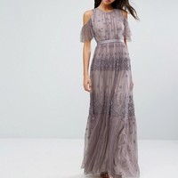 Needle & Thread Daisy Embroidery Maxi Dress With Cold Shoulder at asos.com