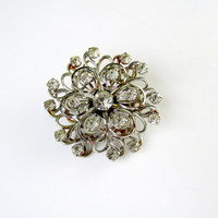 Clear Prong Set Rhinestone Brooch Raised Floral Design Dimensional Vintage Collectible Gift Item 2347