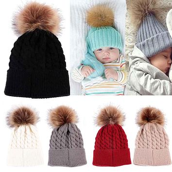 2017 Pom Children Winter Hat For Girls Boys Kids Newborn Knitted Cap Crochet Solid Children Beanies 0-36 Month Baby Fur Ball Cap
