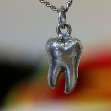 Solid Sterling Silver Human Wisdom Tooth Necklace Wisdom Tooth Pendant Molar Teeth