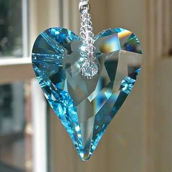 "NEW....Theresa Blue - Swarovski Crystal Heart Suncatcher - 37mm Pendant Topped with Swarovski Crystal Octagons, 10"" Long"