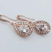 JESS - Rose Gold CZ Bridal Earrings