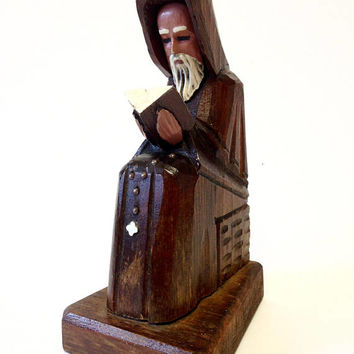 Priest Monk Reading Wood Sculpted Religious Figurine Hand Carved