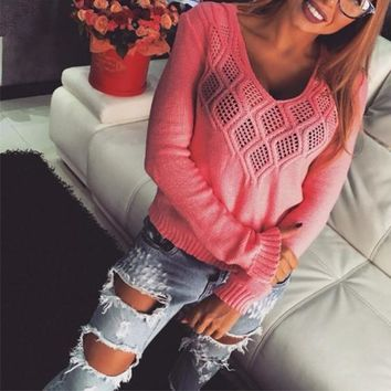 Pink Plain Hollow-out V-neck Casual Cotton Pullover Sweater