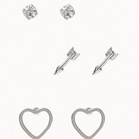 Heart & Arrow Stud Set | FOREVER 21 - 1076338192