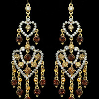 Duo Hearts Chandelier Earrings in Tiger – bandbcouture.com