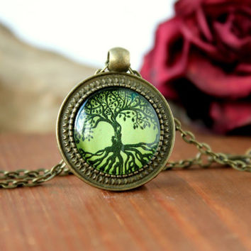 Tree Of Life Necklace,Antique Bronze Pendant,Glass Cabochon Pendant With Chain