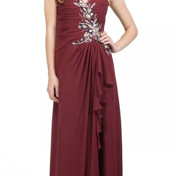 Prom Gown Chiffon Burgundy Front Slit Strapless Floor Length