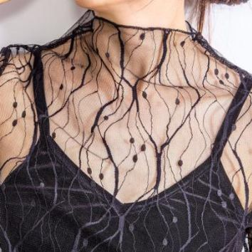 Tops and Tees T-Shirt Women's Crop Top Ladies Black Mesh Lace T-shirt Fishnet Long Sleeve Stretch Transparent Vest T-Shirt Women Sexy  Tees AT_60_4 AT_60_4