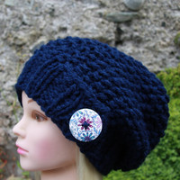 Hand Knit Hat Womens Hat, navy slouchy hat with button