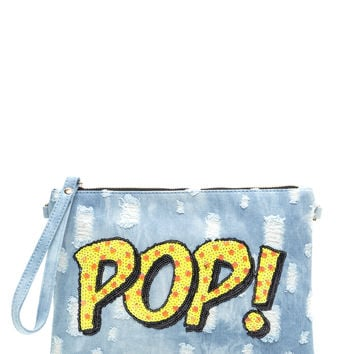 Pop Of Color Distressed Denim Clutch GoJane.com