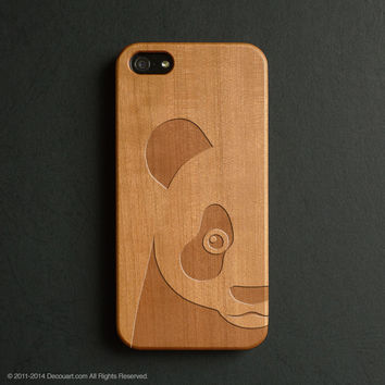 Real wood engraved panda pattern iPhone case S028