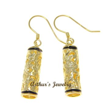 YELLOW GOLD PLATED SILVER 925 HAWAIIAN PLUMERIA SCROLL BARREL HOOK EARRINGS