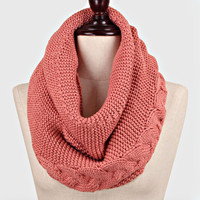 Cable Knitted Braided Infinity Winter Scarf