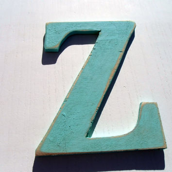wall decoration signage letter Z hanging decor rustic 8 inc Distressed wooden letter wall hanging nursery wood names cottage chic