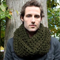 The Favorite Mens Cowl neck Scarf Wool winter chunky dark olive green