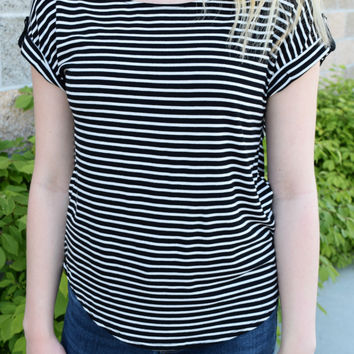 Piper Striped Boyfriend Tee - Black/White