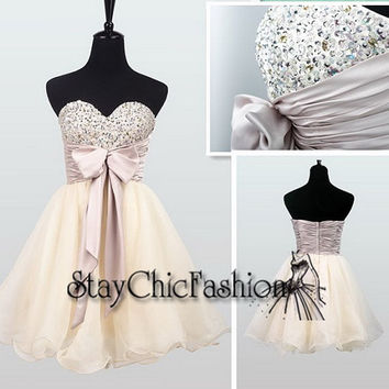 Cream Short Beaded Top Bowtie Waist Homecoming Dress 2014