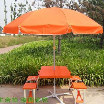 Whole set Outdoor Folding portable camping dining table Beach Tables with umbrella+base
