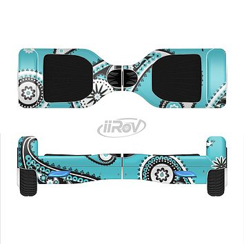 The Vivid Blue & Black Paisley Design Full-Body Skin Set for the Smart Drifting SuperCharged iiRov HoverBoard