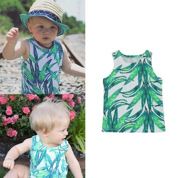 Kids Sleeveless  Summer T Shirt Girls Bamboo Leaves Printed Clothing Boy Tshirt Casual Baby Clothes