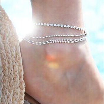 Chain Diamonds Ladies Fashion Summer Stylish Anklet = 5892922497