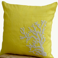 Decorative pillow with white coral on yellow silk in white beads -Oceanic pillows - Yellow pillows -Embroidered Pillow- 18x18 -Couch pillows