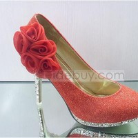 Fashionable Red PU Upper Stiletto Heels Closed-toes Wedding Bridal Shoes