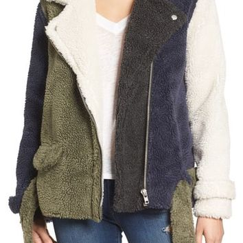 J.O.A. Faux Shearling Moto Jacket | Nordstrom
