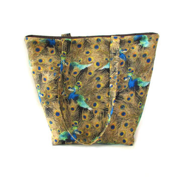 Peacock Tote Bag, Cloth Purse, Handmade Handbag, Peacock Feathers, Brown, Blue, Green, Orange,  Fabric Bag, Shoulder Bag
