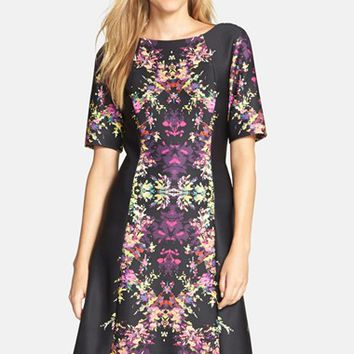 Women's Tahari Floral Scuba Fit & Flare Dress,