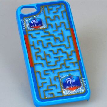 MagicPieces Plastic Snap on Case with Shaking Rhinestones and Maze 2014 Brasil France for iPhone 4/4S Blue