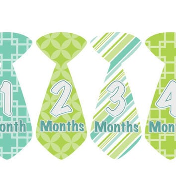 Baby Month Stickers Boy Monthly Onesuit Stickers Green Tie Onesuit Boy Stickers Monthly Onesuit Sticker Baby Shower Gift Photo Prop George