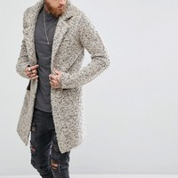 ASOS Longline Heavyweight Knitted Duster Cardigan in Oatmeal at asos.com