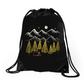 camp forest Drawstring Bags