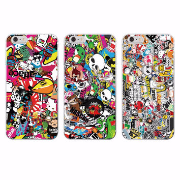 Sticker Bomb Cartoon Smiley Soft TPU Phone Case Cover Coque Fundas For iPhone 7 7plus 6 6S 6Plus 5 5S 4 4S 5C SAMSUNG