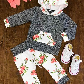 US Stock Newborn Infant Baby Girls Hoodie Tops Floral Pants Clothes Outfits Set