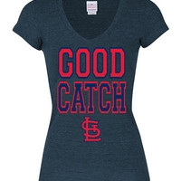 T-Shirt - Navy Blue Cardinals Tri-Blend Good Catch Short Sleeve V-Neck